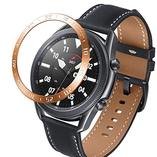 LRJBFC Para Samsung Galaxy Watch 3 41mm 45mm Frontier Watch Bezel Anillo Protección Cubierta Adhesiva Anti Scratch Ring Smart Watch Accesorio (Band Color : Rose Gold, Band Width : 45mm)