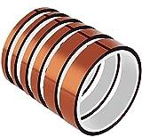 ANDERK 5 Pcs Nastro Adesivo Ad Alta Temperatura 4/6/8/12/15MM Poliimmide Resistente al Calore ad Alta Temperatura Adesivo per la Saldatura, Schede di Sublimazione stampante 3D e Isolamento