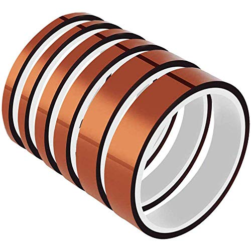 ANDERK 6 Pcs Kapton Tape (3mm, 4mm, 6mm, 8mm, 12mm, 15mm) Hohe Temp Klebeband 3D Drucker Hitzebeständiges Tape Polyimid Elektronik Isolierband