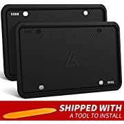 Aujen 2 Pack Silicone License Plate Frame, 2 PCS License Plate Holder, Universal American Auto Black License Plate Frame Rust-Proof, Rattle-Proof, Weather-Proof