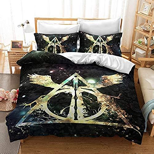 QWAS Ropa de cama Harry Potter 3D, 100% microfibra, dibujos animados (1,140 x 210 cm + 80 x 80 cm x 2)