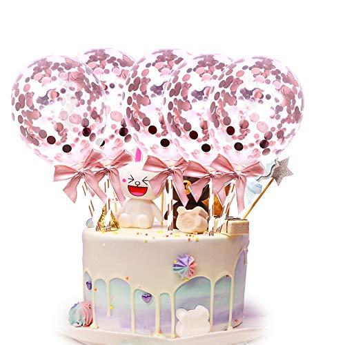 BETOY 10 Stück Konfetti Luftballons Kuchen Topper Latex Pailletten Luftballons Tortendekoration,Cake Topper Deko Geburtstag Ballons für Mädchen Kinder Party (Rosa)