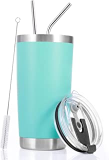 Toopify 20oz Stainless Steel Insulated Teal Tumbler Travel Mug with Straw Slider Lid, Cleaning Brush, Double Wall Vacuum,Aqua Blue,Mint