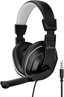 pTron Studio Lite Stereo Sound Wired Headphones, Ergonomic Over Ear Headset with Mic, Adjustable Mic & Integrated Volume C...