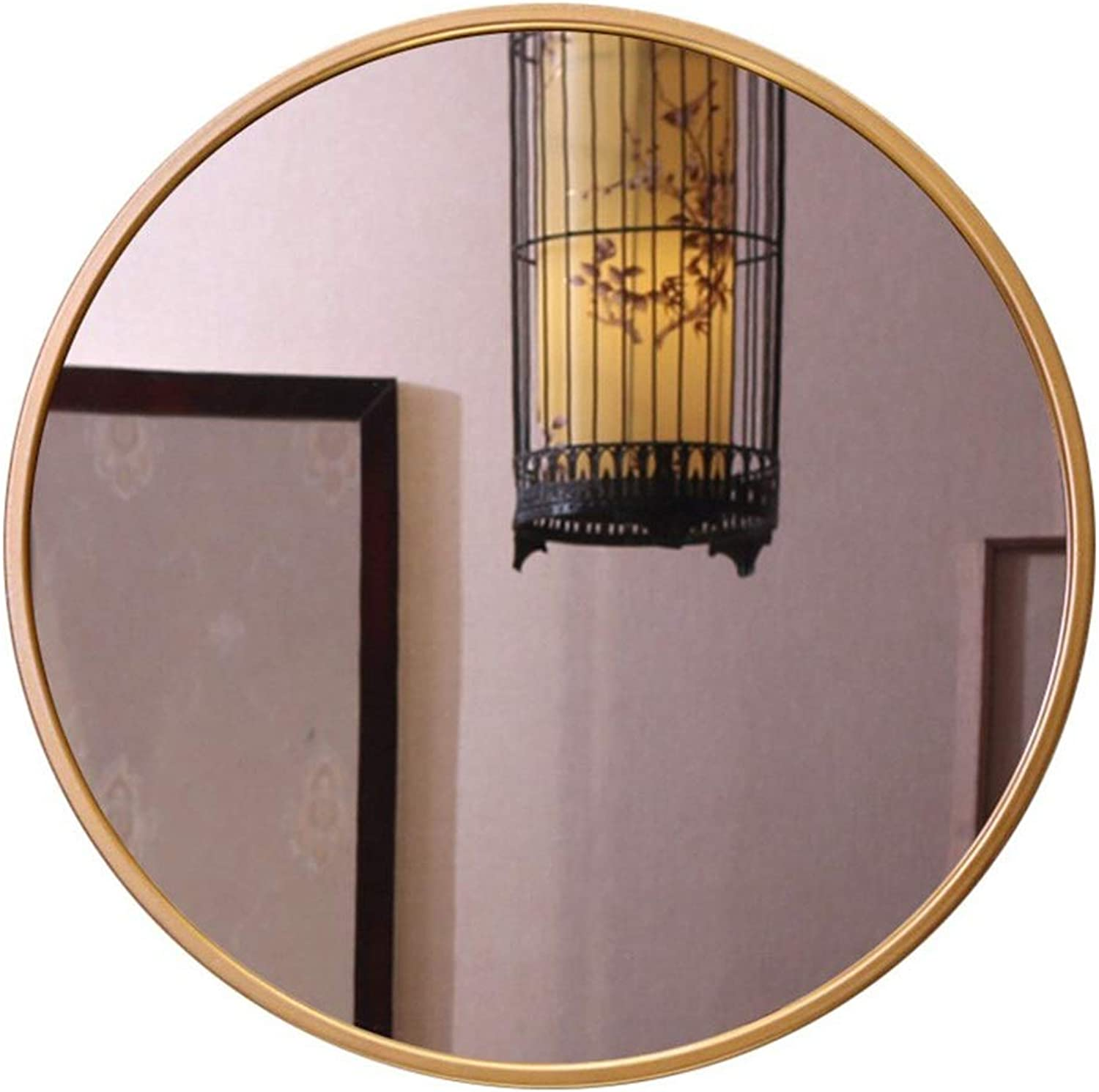 Sdvh Wall Mirrors for Living Room gold, Iron Bathroom Mirror Household Wall-Mounted Vanity Mirror Bathroom Mirror Round Mirror (color   gold, Size   30cm)