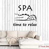 zqyjhkou Time to Relax Quote Vinyl Wall Decal Spa Salon Quote Woman Massage Room Saying Art Decor Stickers Mural Removable Wallpaper71x81cm