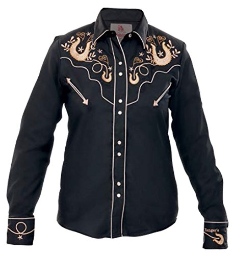 Modestone Women's Embroidered Fitted Western Camicia Cowboy Horseshoes Hearts Black XL