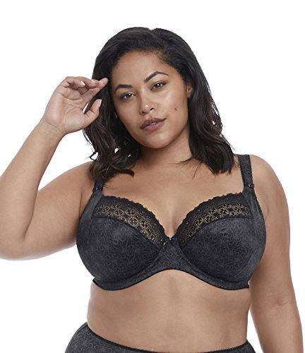 Elomi Women's Plus Size Kim Stretch Lace Underwire Plunge Bra, Black, 34J