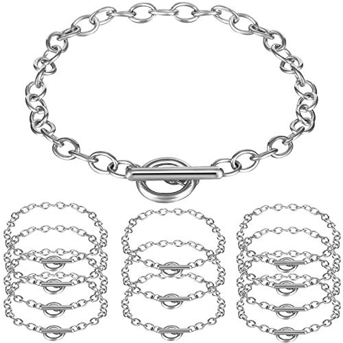 12 Pieces Chain Bracelets Alloy Metal Plated Link Bracelet Chains with OT Toggle Clasps for Men Women Charm Minimalist Jewelry Bracelet Making (Silver)