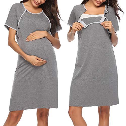 Sykooria Mammakläder bomull mammamode mammanattlinne, amningsskjorta damer amningsskjorta kortärmad med knappstängning, perfekt för gravida kvinnor och amningstid, S-XXL