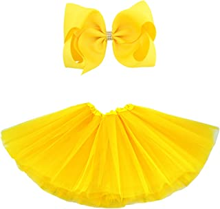BGFKS 5 Layered Tulle Tutu Skirt for Girls with Hairbow and Hairties, Ballet Dressing Up Kid Tutu Skirt