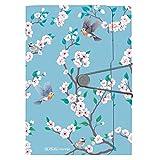 Ladylike Birds - Carpeta archivadora (12 compartimentos, cierre elástico, compartimento para tarjetas de visita, 1 unidad)