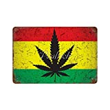 Scott397House Metal Tin Signs, Cannabis Rasta Flag Jamaica Art Vintage Wall Plaque Man Cave Poster Decorative Sign Home Decor for Indoor Outdoor 7x10 Inch
