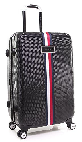 Tommy Hilfiger Basketweave Hardside Spinner Luggage, BLACK, 25 Inch