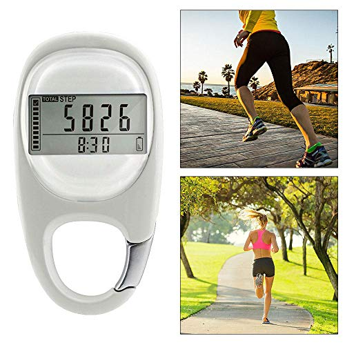 AUOKER 3D Digital Pedometer, Simple Pedometer For Walking With Carabiner Clip, Accurately Track Steps And Miles/Km Calories Burned & Activity Time 7 Days Memory, LCD Step Counter For Men, Women