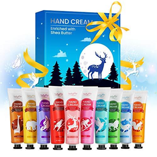 Handcreme Geschenkset, Luckyfine 10 Pcs X 30 ml Hand Creams feuchtigkeitsspendend für raue/trockene/rissige Hände, Feuchtigkeitscreme und Sanfte Pflegecreme, Ideale Geschenk für Frauen und Männer