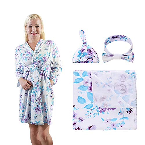 4 Pack Maternity Robe and Matching Baby Swaddle Blanket with Hat Headband Set, Stretchy Knitted Delivery Nursing Dress with Pockets and Receiving Blanket for Mummy and Baby (Purple Flower)