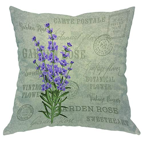 Beabes Throw Pillow Cover Vintage Flowers Lavender Provence Purple Floral Retro French Country Stamp Square Pillow Case Cushion Cover for Home Car Decorative Cotton Linen 18x18 Inch