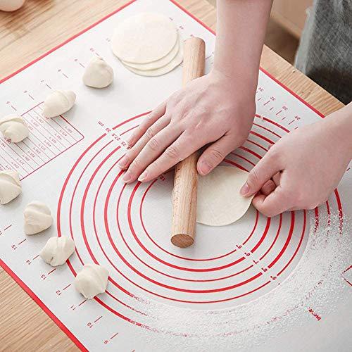 All--In Silikonmatte Pizza Teigmatte Antihaft rutschfest Backunterlage mit Messung BPA Frei Gebäck Backmatte 70x50cm