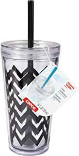Copco 2510-0437 Minimus Double Wall Insulated Tumbler with Removable Straw, 24-Ounce, Chevron Black