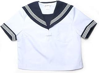 [富士ヨット] 半袖セーラー服 白身頃 紺衿 白3本線 6A-20B