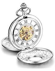 Infinite U, grande orologio meccanico da taschino con cassa di alta qualità a doppio coperchio, numeri romani, in acciaio, con lunga collana in argento e con sacchetto regalo, per uomo o donna