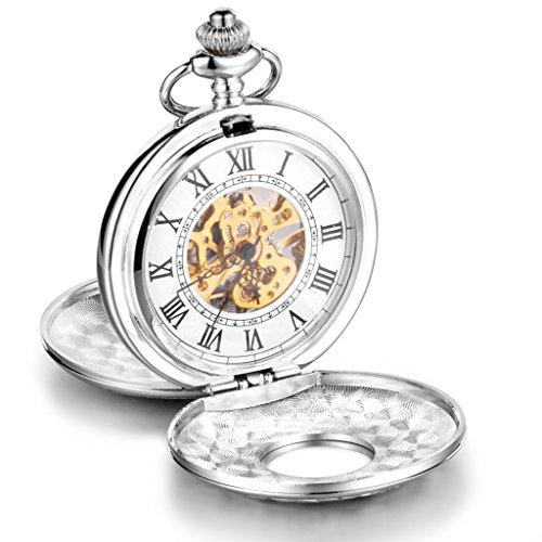 Infinite U, grande orologio meccanico da taschino con cassa di alta qualità a doppio coperchio, numeri romani, in acciaio, con lunga collana in argent