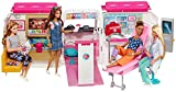 Barbie Ambulanza, Trasformabile in Clinica Mobile con 3 Stanze e Tanti Accessori, sirena f...