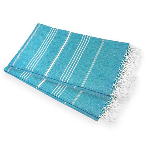Toalla de mano turca peshtemal grande toalla de cocina toalla de hammam toalla de cocina ideal para sauna, spa, yoga y toallas de playa – XL de gran tamaño 50 x 90 cm suave y versátil (turquesa, 2)