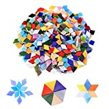 Kitmose Ceramic Mosaic Tiles, 1Lb Mixed Shapes Assorted Color Stained Mosaic Tiles Glass Pieces Bulk Stained Glass Supplies for Home Decoration or DIY Art Crafts (Square,Triangle,Rhombus)