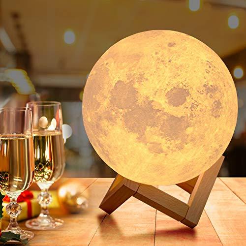 Lampada Luna 3D Stampata, OxyLED Piena Lampada Moon Luna con Diametro 18cm e 16 Colori, Ricarica USB Decorativo LED Luce Notturna Toccare il Controllo, Decoro per Stanza Letto Mood Light per Camera