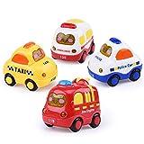 Hging 4 Piezas de Auto conducido por la fricción Pull Back Ingeniería de automóviles Juego de Juguete Ambulancia, Coche de policía, Coche de policía, Taxi, para 1 2 años de Edad, niñas, niños, bebés,