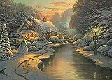 Thomas Kinkade Christmas Eve Limited Edition Puzzle de Madera de 1000 Piezas para Adultos y niños Adecuado para niños de 10 años en adelante
