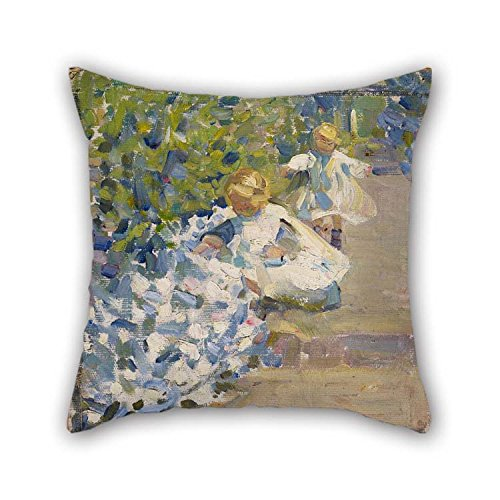 beeyoo Oil Painting Helen Galloway McNicoll – Sketch para 'Picking Flowers' Almohada Cubiertas 20 X 20…
