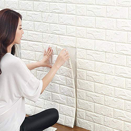 10 Stück 3D Wandpaneele Selbstklebend - Ziegel Steinoptik, Tapete Wasserdicht, Wanddekoration,Wandaufkleber, Wandtapete Schaumstoff für Schlafzimmer, Badezimmer, Wohnzimmer (10 Stück 35×38.5cm)