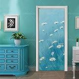 JBMTH Etiqueta de vinilo mural de puerta 3D Hermosa flor de margarita 77x200cm Mural Pegatinas De Pared PVC Autoadhesivo Impermeable Removible Arte Papel Pintado para Sala de Estar Dormitorio Coc