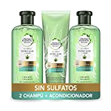 Herbal Essences Sin Sulfatos Ni Siliconas, Ingredientes Naturales Aloe Puro Y Hemp, 2 Champús 380 ml + Acondiciondor 275 ml