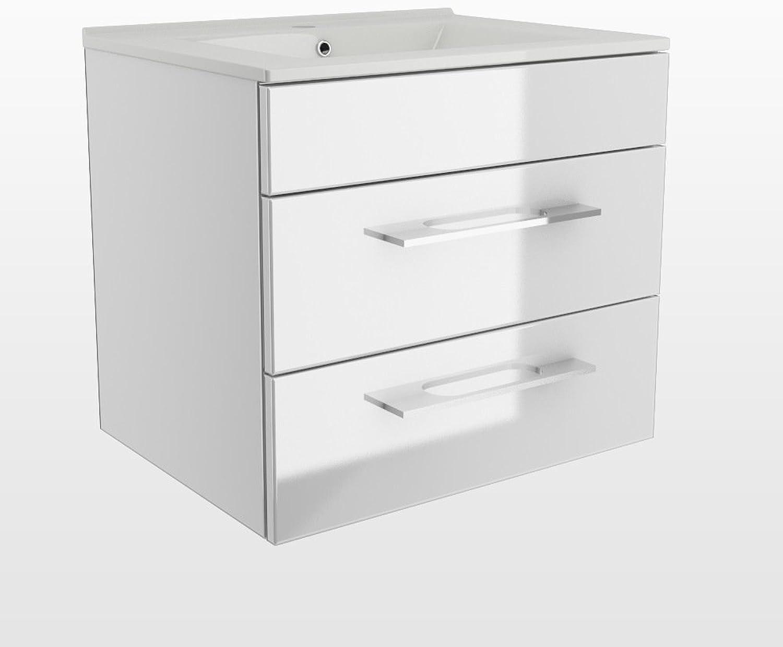 Design Badmbel Unterschrank + Waschbecken 60 cm in der Farbe Weiss   Wei Hochglanz   Soft-Close   Montagefertig   MADE IN GERMANY