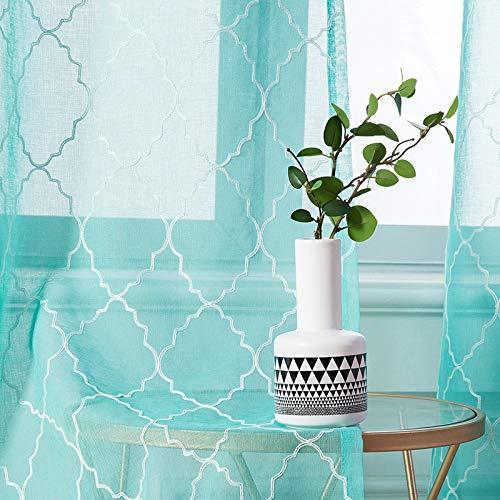 MIULEE 2er Set Voile Marokko Vorhang Sheer mit Ösen Transparente Optik Gardine Ösenschal Wohnzimmer Fensterschal Luftig Lichtdurchlässig Dekoschal für Schlafzimmer 145 x 140cm (H x B)