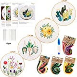 4Pack Embroidery Starter Kit with Pattern and Instructions, DIY Beginner Starter Stitch Kit Include 1Embroidery Hoop,4 Embroidery Clothes with Plants Flowers Pattern,Color Threads