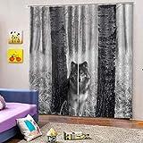 HomeAZWQ Rideau D'Occultation - Effet 3D Isolé Fond Gris Loup des Forêts Traitements De Fenêtre Rideau D'Occultation pour Enfants Et Crèche H215 X W320Cm