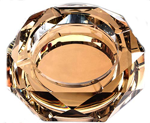 YUEMING Aschenbecher Glasaschenbecher 10 cm achteckigen kristall aschenbecher Business aschenbecher rutschfeste zigarettenetui Hause, café, bar feine Dekoration (Gold)