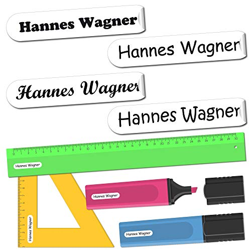 INDIGOS UG® Namensaufkleber Sticker - 36x7 mm - 300 Stück für Kinder, Schule und Kindergarten - Stifte, Federmappe, Lineale - Hintergrund weiß - individueller Aufdruck