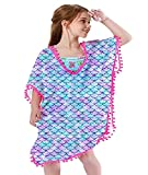 3t 4t Toddler Girls Mermaid Graphic Covers up Light Purple Summer 3D Realistic Pattern Dress Tops Blouse Skin-Friendly Swimsuit Wraps for Hawaiian Swimwear 3-5T