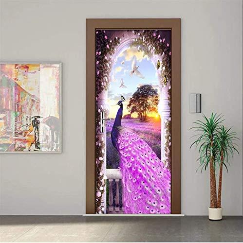 SUDIKE Door Sticker Modern Purple Peacock Dream Lavender 3D Wallpaper Living Room Bedroom Home Decor Wall Decals Mural Paste