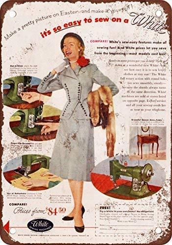 SIGNCHAT 1952 kleur Blanco Máquinas de Coser metalen blik teken 8X12 inch