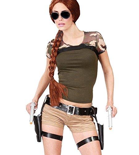 shoperama Pistolengürtel inklusive 2 Waffen Halfter Doppelholster mit Pistolen für Polizist Spion SWAT Lara Croft Kostüm