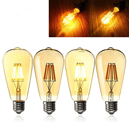 E27 ST64 8W Golden Cover Dimmable Edison Retro Vintage Filament COB LED Bulb Lig ( Warm White, 110V )