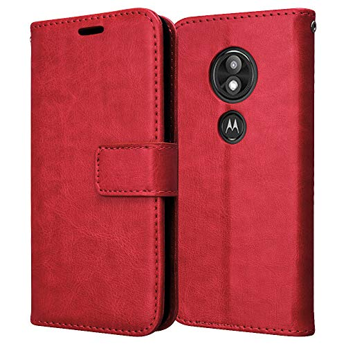 TECHGEAR Leder Hülle kompatibel mit Motorola Moto E5 Play - PU Leder Flip Case Schutzhülle Ledertasche [Brieftasche] Handyhülle mit Ständer & Handschlaufe Beutel Case - Rot