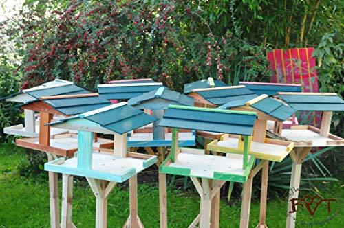 vogelhäuschen groß, mit ständer DACH DUNKEL-GRÜN / Vogelhaus,wetterfest IN DUNKELBRAUN,VIERDAORI-dbraun001 NEU ,Vogelhäuser+Vogelhausständer KLASSIK-PREMIUM Vogelhaus,Vogelfutterhaus, Vogelfutterhaus MIT-Futterstation Farbe braun dunkelbraun schokobraun rustikal klassisch,Ausführung Naturholz MIT WETTERSCHUTZ-DACH - 4